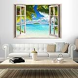 murando - 3D WANDILLUSION Wandbild - Fototapete - Poster XXL - Fensterblick - Vlies Leinwand - Panorama Bilder - Dekoration - Meer Strand Dünen 70x50 cm
