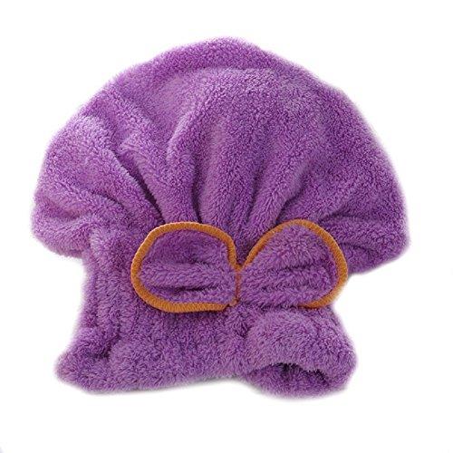 Chickwin-Super Absorbierende Korallen Duschen-Kappen Schnelle Trockene Haar-Hut Trockenes Haar-Tuch (lila) (Ohr Waschen Hund)