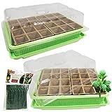 2 Stck Mini Gewächshaus Zimmergewächshaus 24 Ziehtöpfe Anzuchttöpfe mit 100 Stck Pflanzenbinder