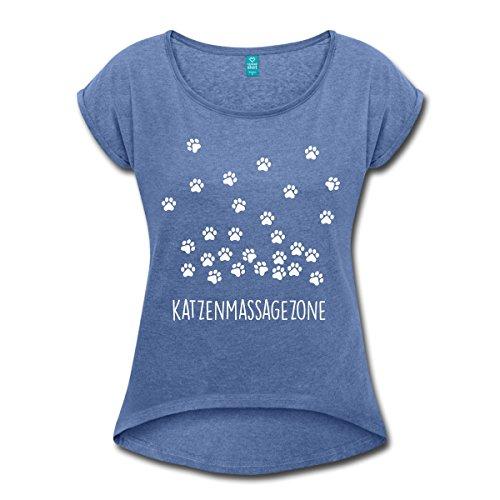 Spreadshirt Katzen Massage Zone Pfotenabdrücke Frauen T-Shirt mit Gerollten Ärmeln, M, Denim Meliert (Massage-t-shirts)