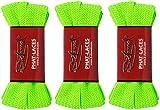 2Stoned 3 Paar Original PHAT Laces Neon-Grün 120cm lang und 3cm breit, Flache breite Schnürsenkel für Sneaker und Chucks