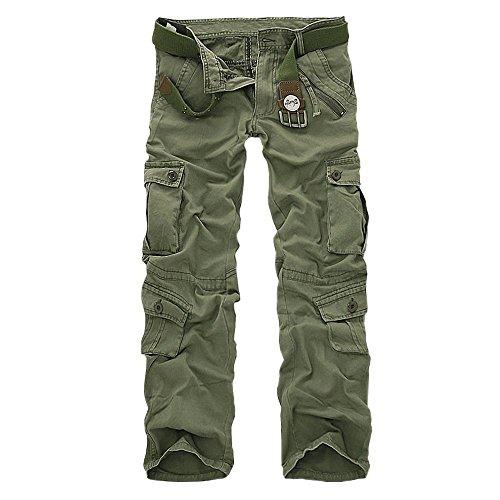 Minetom Herren Baumwoll Militärstil Lange Hose Latzhose Jogginghose Sporthose ohne Guertel ( Armeegrün 2 EU M )