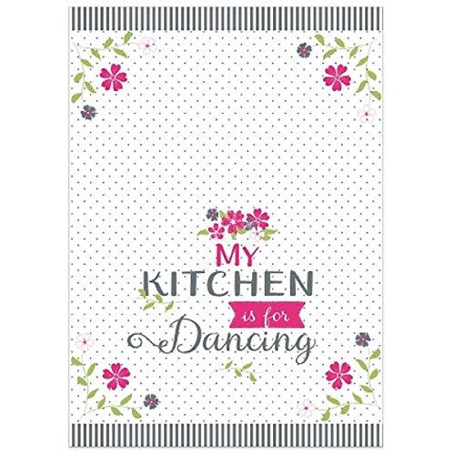 My Kitchen Is For Dancing Torchon Rose Blanc Inscription en allemand Chiffon Sec Serviette neuf