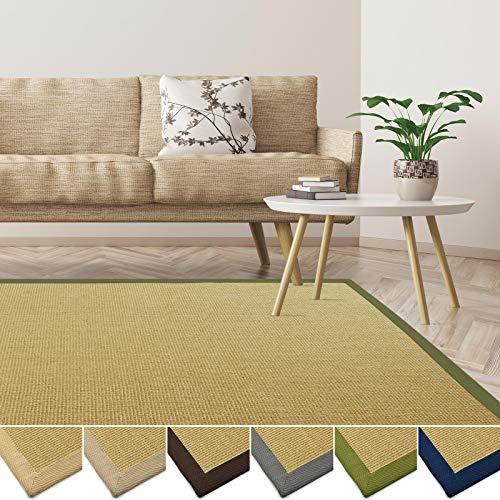 casa pura Sisal Teppich aus Naturfasern | mit Bordüre aus Baumwolle | pflegeleicht | viele Größen und Farben (Natur/Bordüre Pistazie, 200x240 cm) -