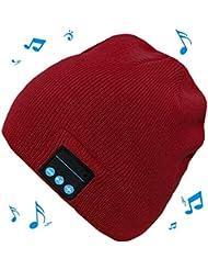 Westeng Sombrero Gorra Ajustable Mantener Caliente Prueba Viento Altavoz Bluetooth Wireless Hombres Mujeres Con Micrófono Deportes Cap Para Teléfono Rojo,1Pcs