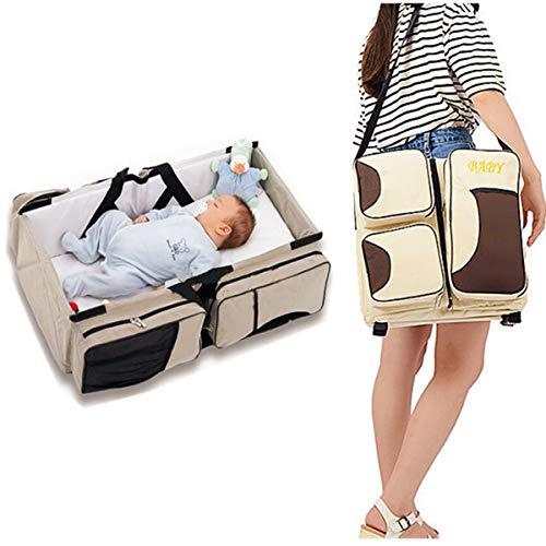 Mehrzwecktasche für Baby und Kleinkind Transformable in Kinderwagen und extra Wickeltisch | Praktisch und hygienisch Trend 2019 (Beige)