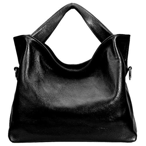 ACVXZ Echtes Leder Handtasche Designer Tote Umhängetasche Satchel Geldbörse für Damen Leder Verstellbarer Riemen mittelgroße Schulter Hobo Bag (Farbe : SCHWARZ, größe : One Size)