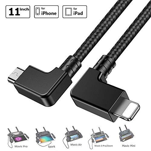 O'woda Micro USB vers iOS OTG Câble de données 【i Phone/i Pad】 Cord Nylon tressé Drone transmetteur connecteur pour DJI Mavic Pro/Spark/Mavic Air/Mavic 2 Pro & Zoom/Mavic Mini