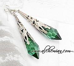 Idea Regalo - Orecchini Lacrime di Vampiro, verde smeraldo anallergici