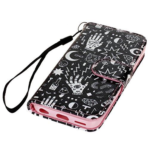 PU Cuir Coque Strass Case Etui Coque étui de portefeuille protection Coque Case Cas Cuir Swag Pour Apple iPhone 5C +Bouchons de poussière (4XO) 3