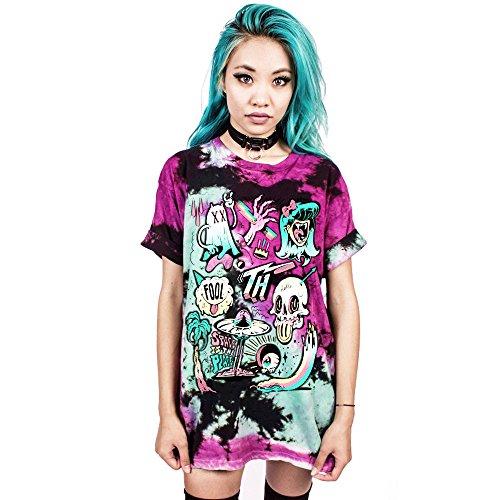 (OverDose Damen Spukhaus Stil Print Männer Frauen Nette Festival Halloween Tank Top Bluse Clubbing Party Dance Schlank Punk Rock T-Shirt)