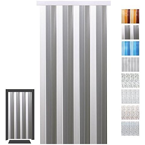 Türvorhang Fadenvorhang PVC, Auswahl: weiß - hellgrau - grau 90