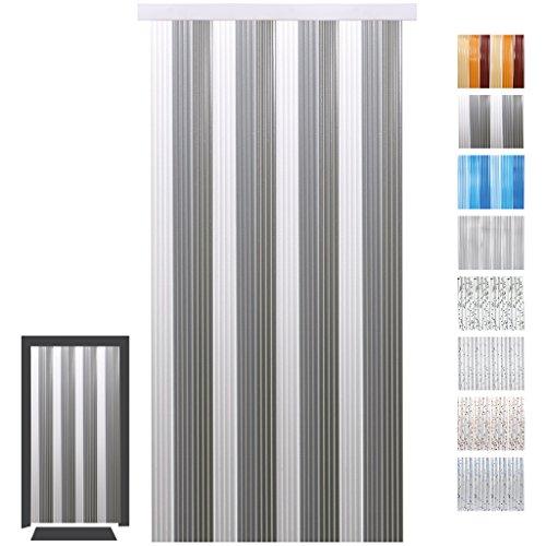Pvc-tür-vorhang (Türvorhang Fadenvorhang PVC, Auswahl: weiß - hellgrau - grau 90 x 200 cm)