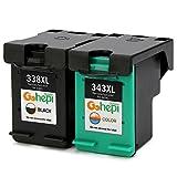 Gohepi 338XL/343XL Compatible para Cartuchos de tinta HP 338XL 343XL, 1 Negro/1 Tri-color Juego de 2...