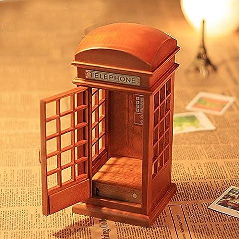 XJoel Cadeaux New Anniversaire forme de téléphone cellulaire vertical en bois boîte à musique vent-up
