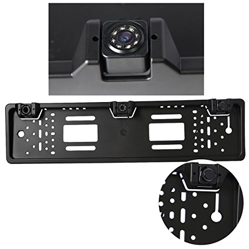 Universal-backup-kamera (phansthy Universal License Plate Auto Rückfahrkamera Backup Kamera HD CCD Nachtsicht Auto Rückfahrkamera 2integrierten Rückfahrkamera Einparkhilfe Radar Sensoren)