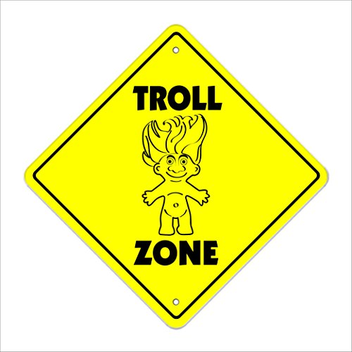 SignMission Troll Crossing Sign Zone Xing |-| 43,2cm Hoch Mythologie Internet Collection Goth