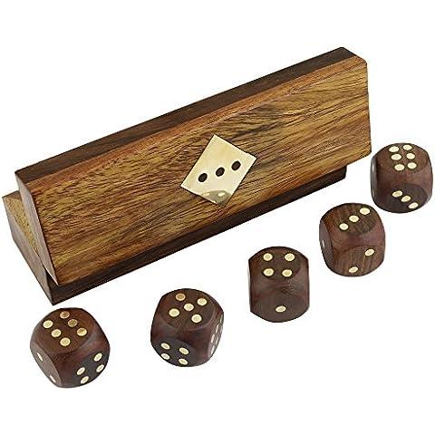 indios dados del juego de madera hechos a mano establecidos en el almacenamiento de arte de la caja de latón incrustaciones - 12,7 x 3,8 x 3,8
