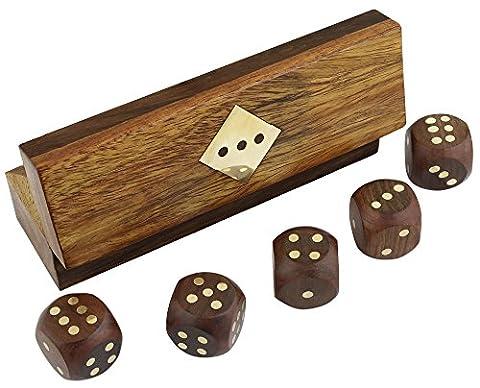 Indiens fabriqués à la main dés de jeu en bois mis en boîte de rangement en laiton incrusté d'art - gros dés décoratifs en bois - 3,81 x 12,7 x 3,81 cm