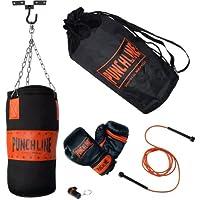 Kinder Boxset PUNCHLINE JUNIOR mit Boxsack, Kette, Boxhandschuhen, Deckenhaken, Springseil und Schlüsselanhänger