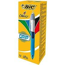 BIC 4-Farb-Druckkugelschreiber Grip/4 in 1 Kugelschreiber/Rot, Blau, Schwarz und Grün/Dokumentenecht/Mit Gummi-Griffzone/Nachfüllbar/Strichstärke 0,4mm/Stifte Set mit 12 Mehrfarbenstiften