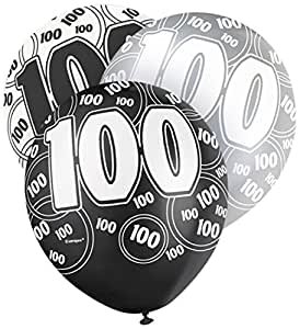 """12"""" Latex Glitz Black and Silver 100th Birthday Balloons, Pack of 6"""