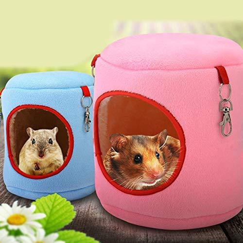Yaoaomon Warme Bett Ratte Hängematte Eichhörnchen Winter Spielzeug Pet Hamster Cage Hängenest Spielzeug blau 9 * 9 * 10 cm (Hängematte Pet Cage)