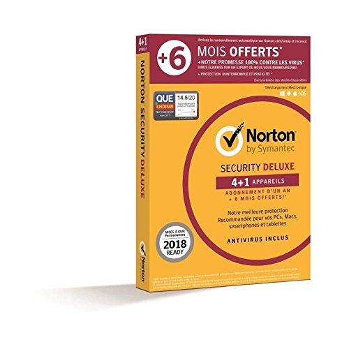 Symantec - Norton Security Deluxe 2018 | 1 An + 6 mois offerts | 4+1 Appareils | PC/Mac/Android/iOS | Téléchargement