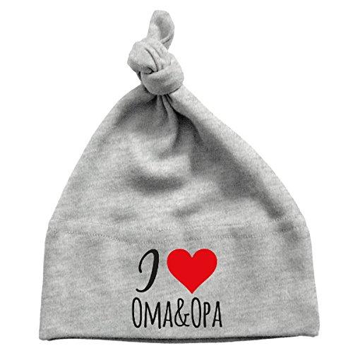 Mikalino Baby Mütze I love Oma & Opa , Farbe:heather;Grösse:0-6 Monate