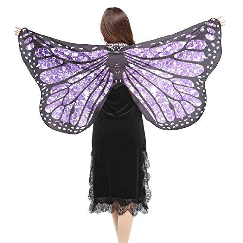 SHOBDW Hot !!! Clearance Weiche Stoff Schmetterlingsflügel Schal Fee Damen Nymph Pixie Kostüm Zubehör (147 * 70CM, Lila)