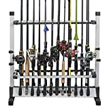 KastKing Fishing Rod Rack - Perfect Fishing Rod Holder - Holds Up to 24 Rods - Lightweight Aluminum - Easy Assembly - Minimal Floor Space - 24 Rod Rack for All Types of Fishing Rods and Combos/ 12 Rod Rack for Freshwater Rods - ICAST Award Winner