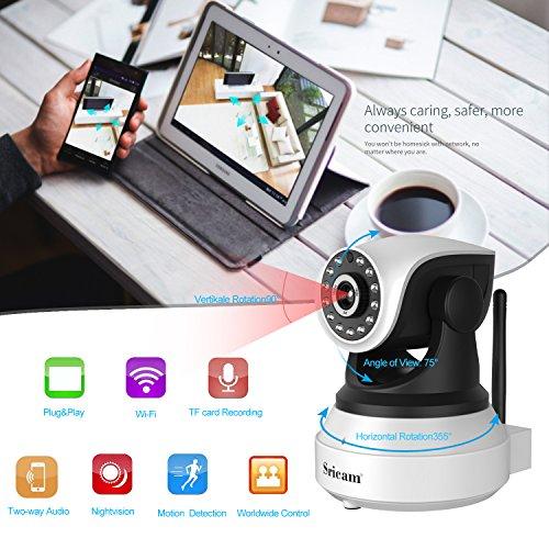 IP Kamera, WLAN Wireless Überwachungskamera Sicherheit Kamera WiFi Kamera 1280 * 720P HD Drahtlose Cam mit IR Nachtsicht / Bewegungsmelder