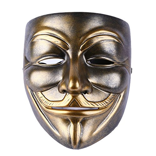 Maske Kupfer Vendetta Maske V Monster Maske Terror Hacker Masken,Copper-16*19.5CM (V For Vendetta Jahr)