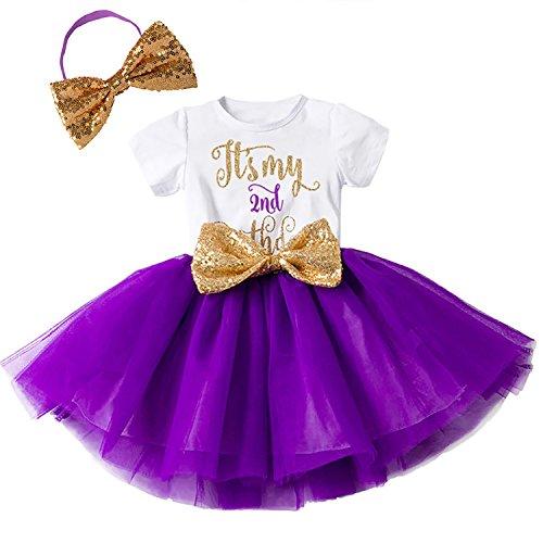 Baby Mädchen Ist es Mein 1./2. Geburtstags Kleid Sequin Tütü Prinzessin Glitzernde Bowknot Partykleid Neugeborene Säuglings Kleinkind 1.Weihnachten Fotoshooting Outfits Kostüm Violett
