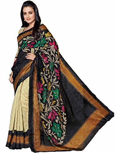 Vipul Maheshwari Silk Black Woven Look Saree with Embroidered Blouse