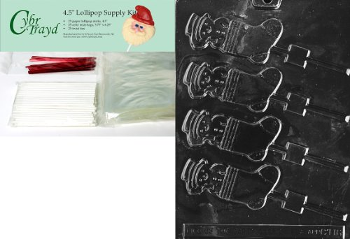 (SNOWMAN IN STOCKING Christmas Chocolate Mold w/Lollipop Supply Kit (25 Lollipop Sticks, 25 Cello Bags, 25 Red Twist Ties, Molding Instructions))