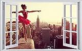 Ballett Tanz New York Skyline Wandtattoo Wandsticker Wandaufkleber F0785 Größe 60 cm x 90 cm