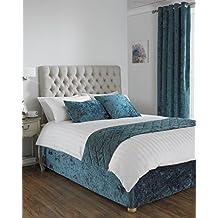 Diván cama Base, de terciopelo de cama en cama tamaño King cama tamaño en Color verde azulado 40cm de profundidad
