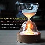 Vetro clessidra luci timer LED sabbia vetro notte sonno helper con telecomando per Natale compleanno regali casa decorazione