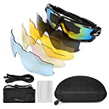 LeaningTech Polarized Sports Sunglasses UV400 Unbreakable Sports Glasses with 5 Changeable Lens for Men or Women Cycling Skiing Baseball Riding Driving Running Golf Fishing Sport Outdoor Activities