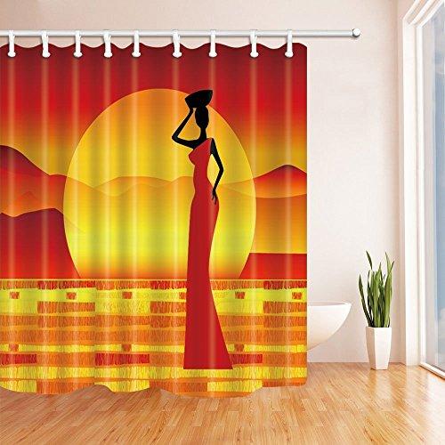 Frau mit Rock zu tanzen Sun Bad Vorhang Polyester Stoff wasserdicht Duschvorhang 180x180cm Vorhänge Dusche Haken enthalten rot orange ()