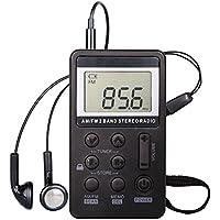 Radio de bolsillo, receptor digital de AM / FM Radio estéreo de adaptación digital portátil de radio con el auricular para la caminata (Black)