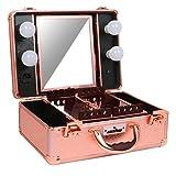 Mallette Coffret Valise Boite Maquillage Professionnel Pas Cher+4 Ampoules Lumières/ Miroir LED,Maquillage Organisateur Rangement Cosmétique Beauté Femme Esthetique,Sac Voyage Maquillage Bijoux-Rose