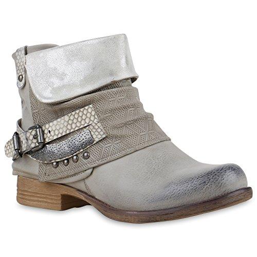 Damen Biker Boots Used Look Stiefeletten Nieten Schuhe Hellgrau