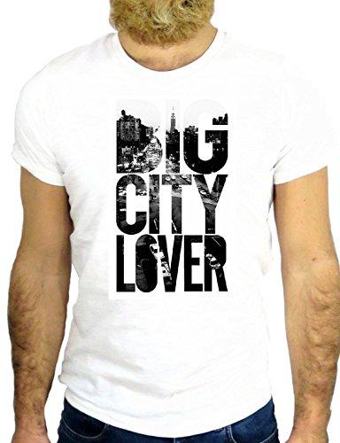 T SHIRT Z2463 BIG CITY LOVER NEW YORK CITY SKY LINE VINTAGE COOL USA GGG24 BIANCA - WHITE