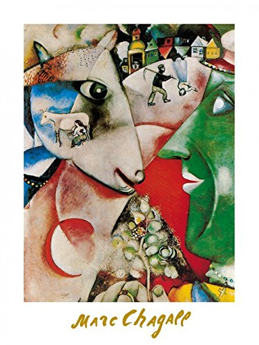 marc-chagall-poster-kunstdruck-i-and-the-village-1911-60-x-80-cm