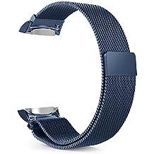 MoKo Gear S2 Correa de Reloj, Pulsera Milanesa Loop Correa Acero Inoxidable Bracelete SmartWatch Banda + Conector para Samsung Gear S2 SM-R720 & SM-R730 Smart Watch (No Apta Gear S2 Classic SM-R735), Azul