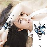 adgkitb 3 Stück Kompass Pfeile schwarz weiße Blume Tätowierung schwarz Mehndi Style wasserdicht...