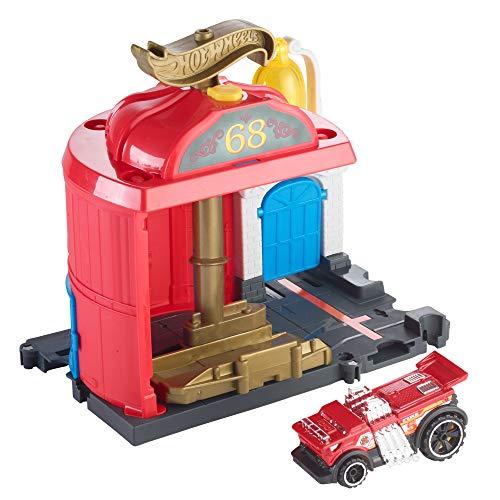 Mattel- Hot Wheels-Parque de Bomberos, Pistas de Coches de Juguete niños +4 años FMY96