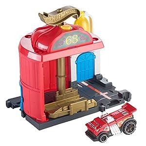 Mattel Stazione dei Pompieri Hot Wheels-Parque de Bomberos, Pistas de Coches de Juguete niños +4 años, Multicolor FMY96